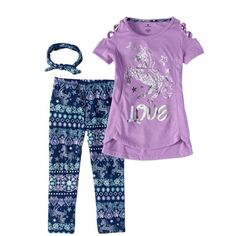 Girls' Unicorn Fashion Tunic and Leggings Set, Size: Purple Unicorn Fashion, Pajama Pants, Tunic, Walmart, Sweatpants, Leggings, Purple, Girls, Stuff To Buy