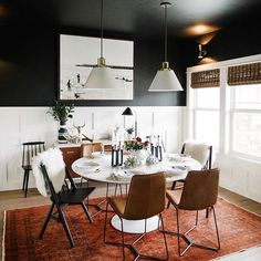 "Kelli Kroneberger on Instagram: ""@everydayinteriordesign dining room makeover. I love everything Erin does! And those lights by @triplesevenhome are #homedecor #makeover #diningroom #interiordesign"""