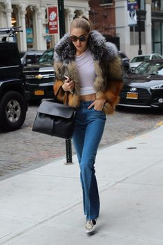 Gigi Hadid Has Her Choice of Coats, and She Picked the Furriest One of All