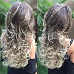 Curly, Highlighted Layers for Long Hair