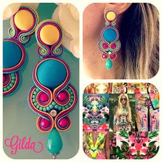 Soutache Necklace, Rhinestone Earrings, Diy Earrings, Earrings Handmade, Handmade Jewelry, Tassel Jewelry, Beaded Jewelry, Jewelery, Earring Trends