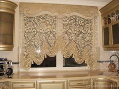 Küchengardinen curtains for kitchen Window Cornices, Window Drapes, Window Coverings, Window Treatments, Curtains And Draperies, Luxury Curtains, Lace Curtains, Valances, Crystal Curtains