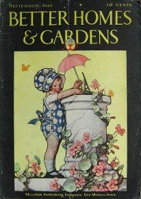 Better Homes & Gardens, Antique Garden Magazines, little gardener with sundial