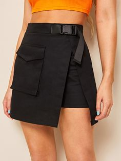 To find out about the Pocket Detail Wrap Skirt at SHEIN, part of our latest Skirts ready to shop online today! Teen Fashion Outfits, Edgy Outfits, Cute Casual Outfits, Skirt Outfits, Girl Fashion, Ad Fashion, Fashion Goth, Mode Geek, Mode Kpop