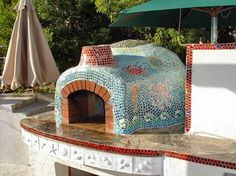brick pizza oven outdoor Seascape Tile Masterpiece - A very unique finish of a Giardino Kit by a customer in Sacramento