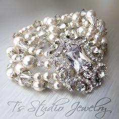 Pearl and Crystal Bridal Bracelet Multi Strand Wedding by TZTUDIO, $105.00 / use vintage rhinestones, crystals, pearls...