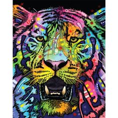 Tiger Pop Art Wall Decal Wild by Dean Russo ($16) ❤ liked on Polyvore featuring home, home decor, wall art, grey, home & living, home décor, wall decals & murals, wall décor, cat wall decals and window wall decal