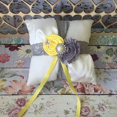 Grey and yellow ring bearer pillow / by FallenStarCoutureInc
