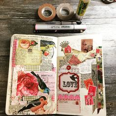 Working in my journal today. I incorporated my lovely Valentine from Nature Journal, Art Journal Pages, Art Journals, Journal Ideas, Collage Vintage, Decoupage Vintage, Shabby Chic Quilts, Collage Book, Glue Book