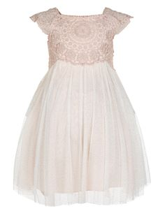 Our ethereal Estella dress for baby girls is crafted with a sparkly lace bodice, and a layered tulle skirt that's dusted with glitter. This empire-line piece is cinched at the waist with a tie-up satin bow, and fully lined for the most comfortable fit. Features back button fastenings.