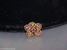 18K-Yellow-Gold-PUFFY-RUBY-BUTTERFLY-PENDANT-for-Necklace-Charm-Filigree