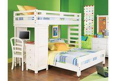 Creekside White Wash Twin Full Student Loft Bedroom w Desk