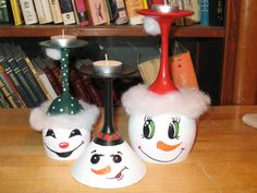 Snowmen Wine Glass Candle Holders set of 3 from Butterfly Kiss Creations. $30 + s/h