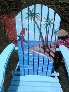 Painted Tropical Adirondack Chair