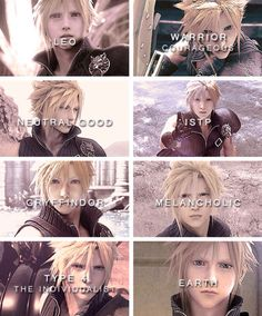 I think Cloud is an INFP in Advent Children and Crisis Core, so I have 4 types in common with him.