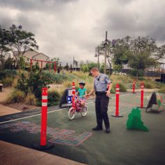 Bike Safety Camp - Irvine Police Officers hosted a Kids Safety Rodeo at Pavilion Park.
