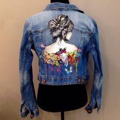 Painted Denim Jacket, Painted Jeans, Painted Clothes, Custom Denim Jackets, T Shirt Painting, Denim Art, All Jeans, Denim Ideas, Denim Crafts