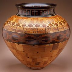 "Ray Allen, ""Bowl,"" ca. 1990. Mesquite, curly maple, pecan, purpleheart, ebony, rosewood, and satinwood. Courtesy LACMA"