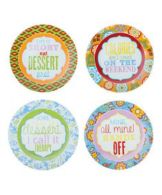 Another great find on #zulily! 'Calories Don't Count On the Weekend' Plate Set #zulilyfinds