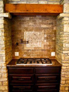 Saw this kitchen stove surround on Stone House Revival. Saw this kitchen stove surround on Stone House Revival. Basement Kitchen, Kitchen Stove, Kitchen Redo, Rustic Kitchen, Kitchen Remodel, Kitchen Ideas, Minimalist House Design, Minimalist Home, Stone House Revival