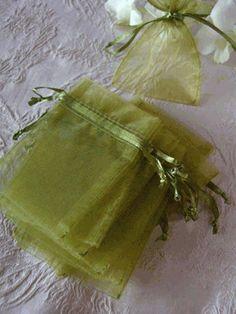 Sheer Organza Drawstring Bags Green (12 bags/pkg)