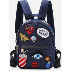 SheIn(sheinside) Dark Blue Zip Front Cartoon Patch Mini Backpack ($25) ❤ liked on Polyvore featuring bags, backpacks, navy, comic book, front zip backpack, rucksack bags, mini backpack and dark blue bag