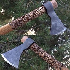 "«NEW AXE FOR SALE!! (In my shop) ""Gullinbursti Viking Thrower"" --- one of a kind hand carved handle with the image of a boar/ aegishjalmur/ simple knot and…»"
