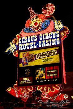 Las Vegas Circus Circus neon sign at night                                                                                                                                                                                 More