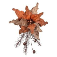"""Leather Look & Tweed Poinsettia with Pine Spray and Bells Size: 11"""" Color: Autumn colors"""
