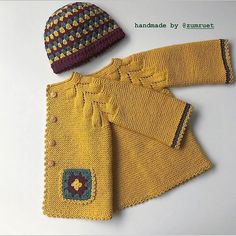 Dress Designs For Kids Free Pattern - Diy Crafts - hadido Crochet Baby Sweaters, Knitted Baby Cardigan, Hand Knitted Sweaters, Crochet Clothes, Diy Clothes, Baby Knitting Patterns, Knitting Baby Girl, Knitting For Kids, Baby Patterns
