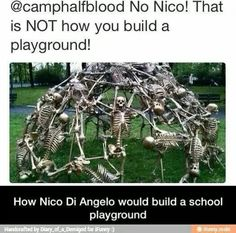 Awww <<<Only this fandom would find a skeleton jungle gym adorable *rolls eyes*<<----we are okay<< as Will yells at NICO to stop the Underworld-y stuff Percy Jackson Fandom, Percy Jackson Fan Art, Percy Jackson Memes, Percy Jackson Books, Solangelo, Percabeth, Tauriel, Caroline Forbes, Thomas Brodie Sangster