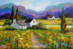 Franschhoek, Cape Town, South Africa by Marlise le Roux - Landscapes Art Gallery Building Painting, Building Art, Landscape Art, Landscape Paintings, Farm Pictures, South African Art, Cottage Art, Cityscape Art, Old Paintings