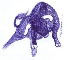 dibujo toro a lapicero
