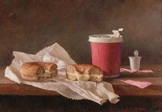 Carl Dobsky, Coffee and Bagel, Oil on Linen, 11 x 16 inches, 2005