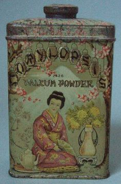 icollect247.com Online Vintage Antiques and Collectables - GORGEOUS EARLY 1900S CORYLOPSIS ADVERTISING POWDER TIN NOS