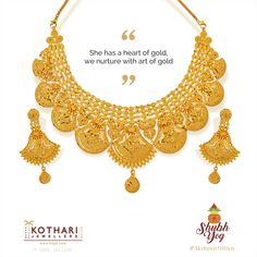 She has a heart of gold, we nurture with aav Q&Aart of Gold Earrings Designs, Gold Jewellery Design, Gold Necklace Simple, Real Gold Jewelry, Jewelry Patterns, Gold Bangles, Wedding Jewelry, Kerala, Traditional