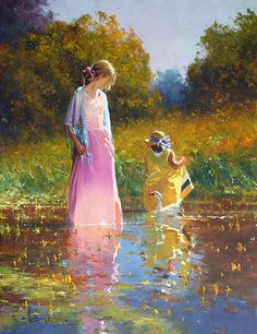 A Tranquil Moment ~ Oil On Canvas~ Robert Hagan Inspiration Artistique, Impressionist Artists, Impressionism Art, Portraits, Foto Art, Woman Painting, Mother And Child, Beautiful Paintings, Newcastle