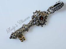 Barbara Bixby Garnet Floral Key Charm Sterling Silver 18K Gold Pendant