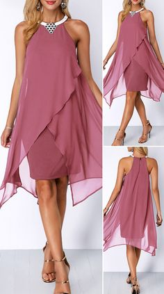 Embellished Neck Asymmetric Hem Chiffon Overlay Dress - Valentine's Day isn't all about the lovebirds -- treat yourself on this special day and buy yourself some Valentine's inspired goodies! Who can pass up these Valentine's Day Gifts For Yourself! Mob Dresses, Women's Fashion Dresses, Fashion Clothes, Fashion Fashion, Outfits Dress, Dresses 2016, Fashion Hacks, Bride Dresses, Holiday Fashion