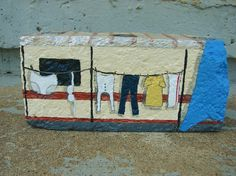 Red-neck Trailer with tarp brick by RocksOK on Etsy