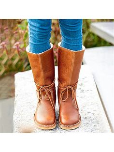 Women's Fashion Round Toe Laced Snow Boots Shop the latest women's clothes and keep your style game strong with the freshest threads landing daily. Thigh High Boots Flat, Flat Boots, Latest Fashion Clothes, Fashion Dresses, Snow Boots Women, Buckle Boots, Artificial Leather, Boot Shop, British Style