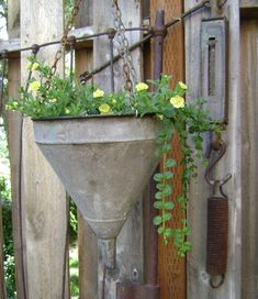 Tin metal funnel is perfect for a flower planter