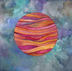 Red Planet Original Watercolor by Megan Noel by meinoel on Etsy, $70.00