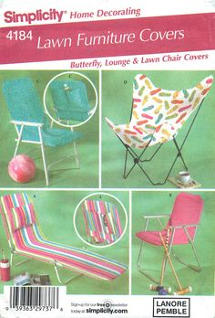 Simplicity Home Decorating 4184 Lawn Furniture Covers; Butterfly, Lounge and Lawn Chair by CarlasHope on Etsy