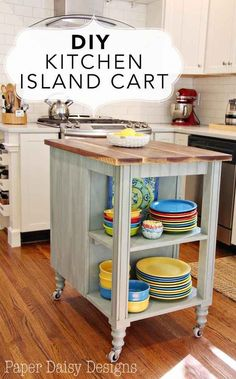 31 in expensive idea for the kitchen Create a rolling island for extra counter space.