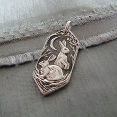 Listen to the Moon Personalized Fine Silver Rabbit Pendant