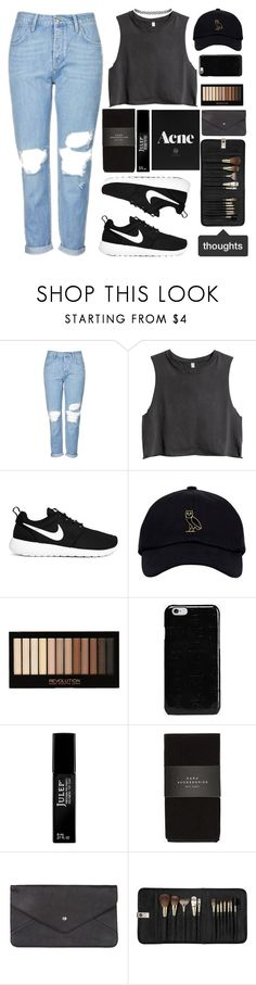 """""""Thoughts 💭"""" by britney-brit ❤ liked on Polyvore featuring Topshop, H&M, NIKE, ULTA, Maison Margiela, Julep, Zara, Double Oak Mills and Sephora Collection"""