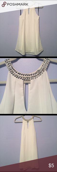 Forever 21 White Dress White dress from Forever 21 with gemstone collar - 100% Polyester. Forever 21 Dresses Mini