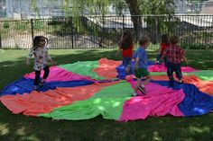 Messy Kids: Parachute Play (a variety of ideas) This activity also teaches children to learn to play games fairly and cooperate with other kids. Letter P Activities, Movement Activities, Gross Motor Activities, Preschool Activities, Parachute Games, Social Emotional Development, Child Development, Outdoor Summer Activities, Kids Health
