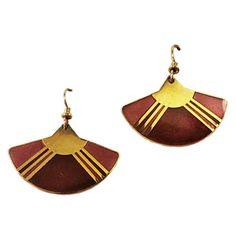 Laurel Burch Fan Earrings Vintage Gold Tone by RomeoetJuliet